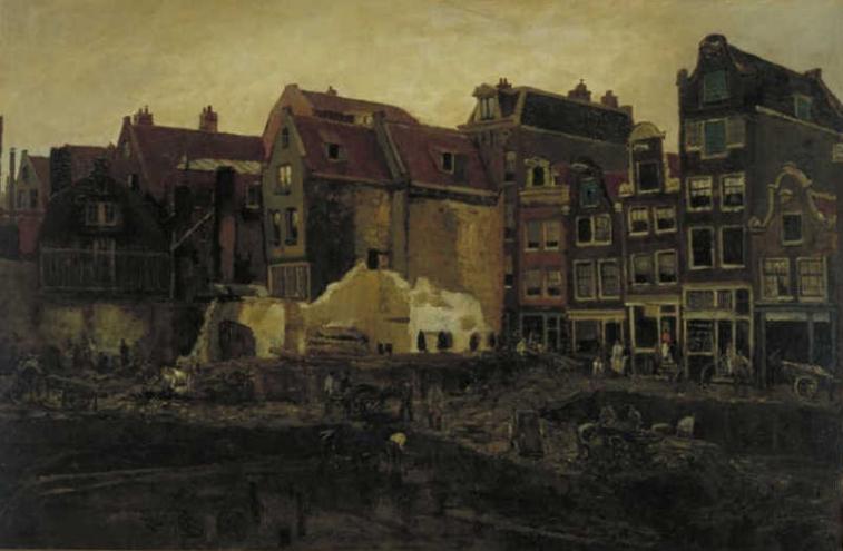 Breitner, Bouwput aan de Nieuwendijk in Amsterdam, Museum Boymans van Beuningen