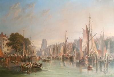 James Wilson Carmichael, Harbour Scene in Rotterdam, The Netherlands