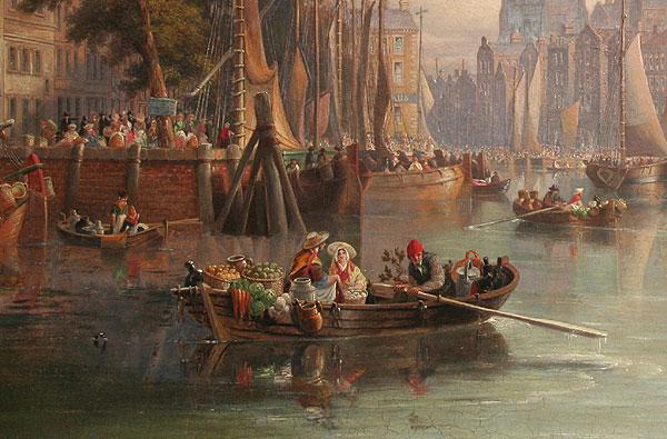 John Wilson Carmichael - detail of Rotterdam Harbour scene