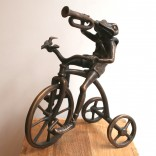 "Andrij Kens, ""Childhood"" Bronze sculpture of a frog on a tricycle, playing the trumpet, 2007"