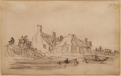 Jan van Goyen (1595 - 1656) Riverbank, a page from Van Goyen's sketchbook of 1650 - 1651.